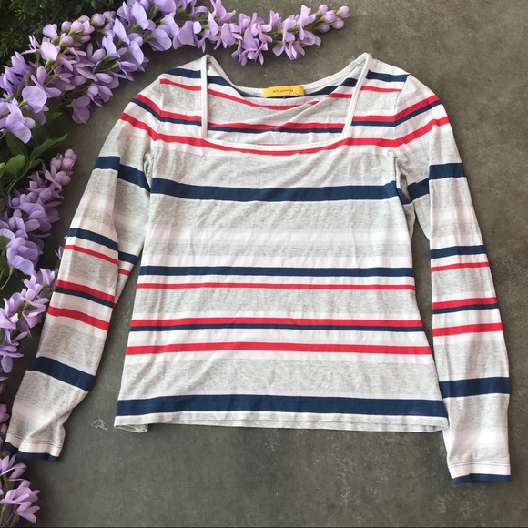 St. John Striped Long Sleeve Top Blouse Size S